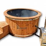 Isolerad vedeldat badtunna glasfiber extern kamin