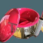 Glasfiber badtunna med inbyggda kamin termo trä livfulla färger (1)