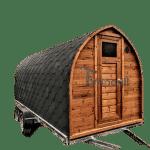 Utomhus igloo bastu med släp omklädningsrum och vedspis (1)