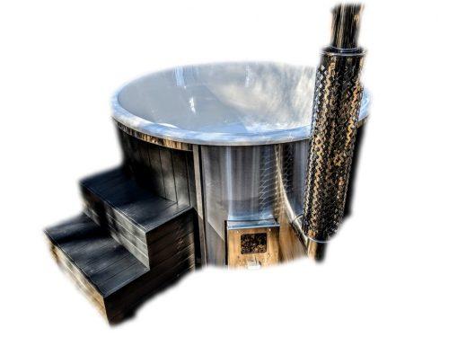 Badtunna i glasfiber med integrerad kamin termo trä Wellness Scandinavia (44)